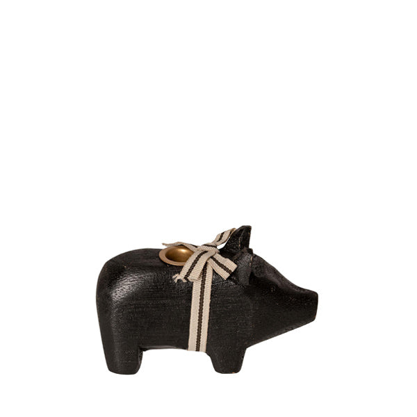 Maileg Wooden Pig Candle Holder - Small - Black