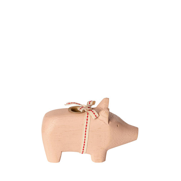 Maileg Wooden Pig Candle Holder - Small - Powder
