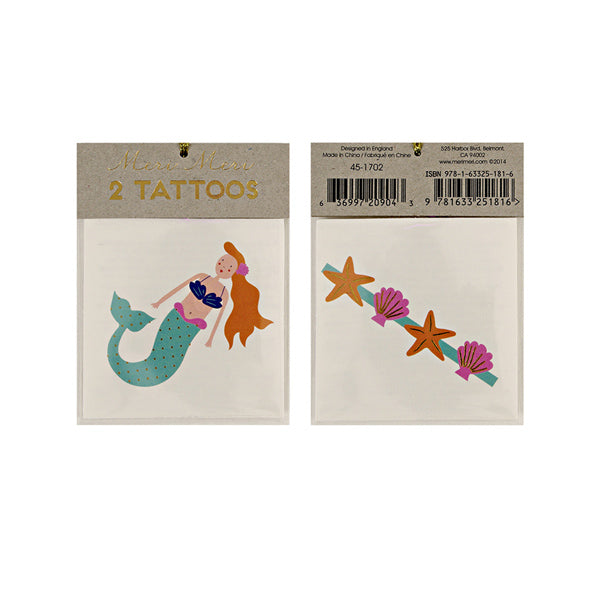 Meri Meri Mermaid and Sea Shells Tattoos