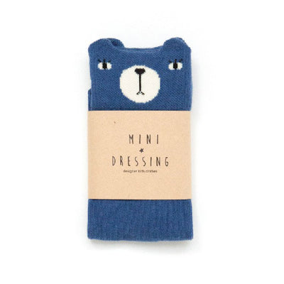 Mini Dressing Blue Bear Knee Socks