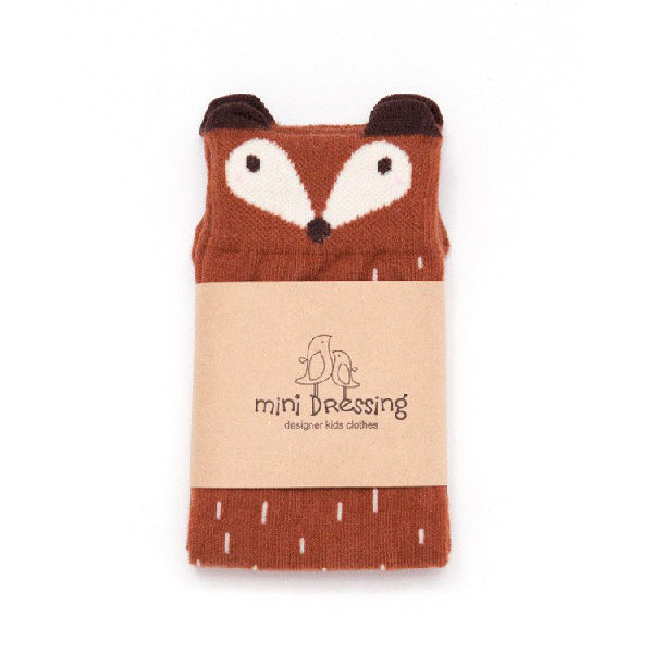 Mini Dressing Brown Fox Knee Socks