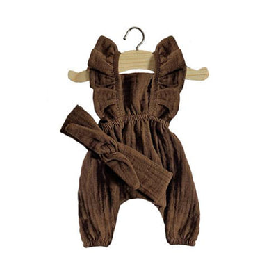Minikane Paola Reina Baby Doll Jumpsuit MAYA with Head Band - Chocolat