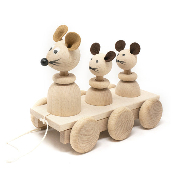 Miva Wooden Bobbing Pull Along Toy - Mice