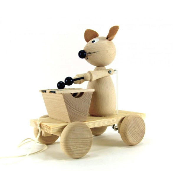 Miva Wooden Pull Along Toy - Xylophone Mouse