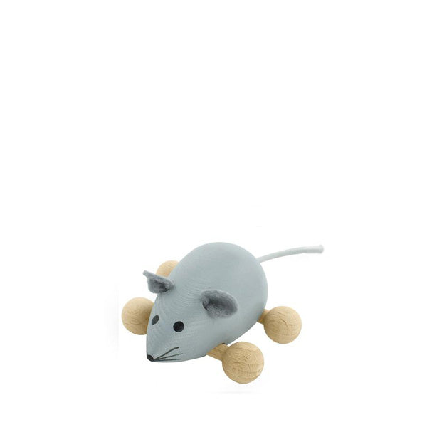 Miva Wooden Push Along Mouse - Grey