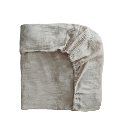 Mushie Extra Soft Muslin Crib Sheet - Fog