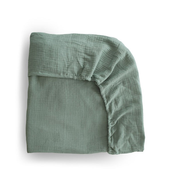 Mushie Extra Soft Muslin Crib Sheet - Roman Green