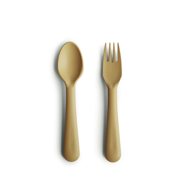 Mushie Fork and Spoon Set - Mustard