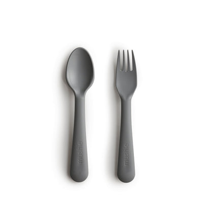 Mushie Fork and Spoon Set - Smoke