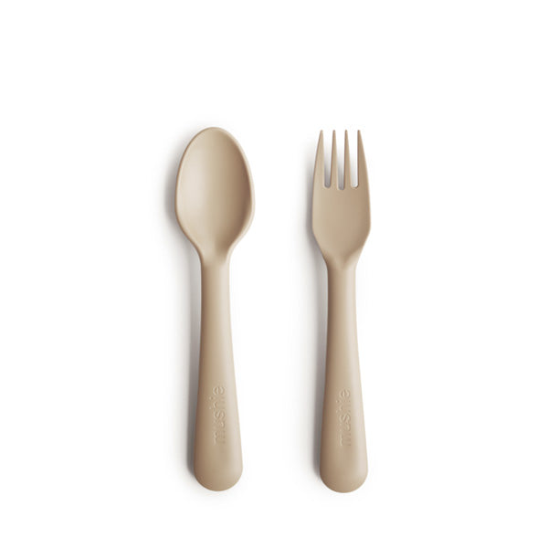 Mushie Fork and Spoon Set - Vanilla
