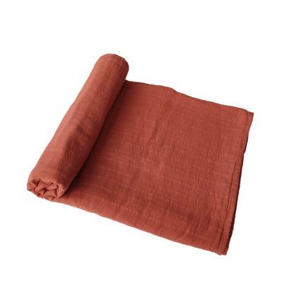 Mushie Muslin Swaddle Blanket Organic Cotton - Auburn