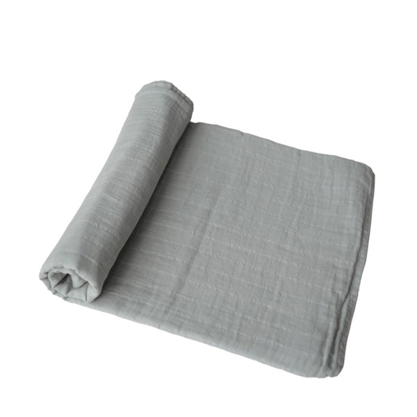 Mushie Muslin Swaddle Blanket Organic Cotton - Belgian Grey