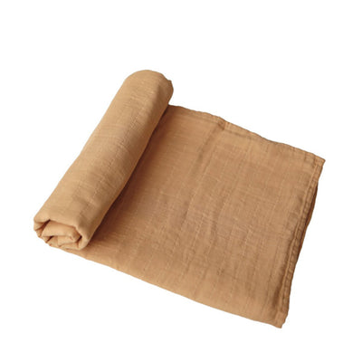 Mushie Muslin Swaddle Blanket Organic Cotton - Fall Yellow