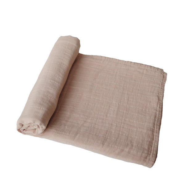 Mushie Muslin Swaddle Blanket Organic Cotton - Pale Taupe