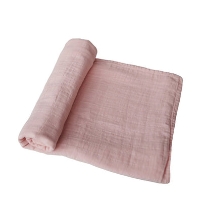 Mushie Muslin Swaddle Blanket Organic Cotton - Rose Vanilla