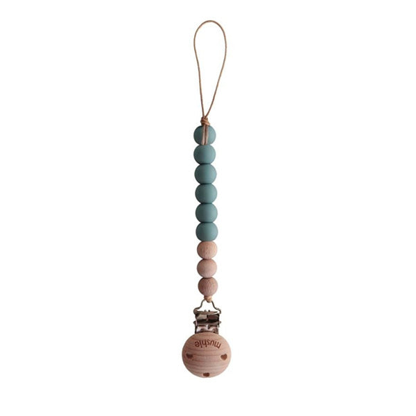 Mushie Pacifier Clip Cleo - Cadet Blue