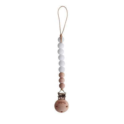 Mushie Pacifier Clip Cleo - White