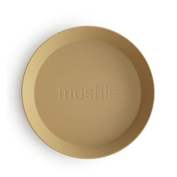 Mushie Round Dinnerware Plates, Set of 2 - Mustard