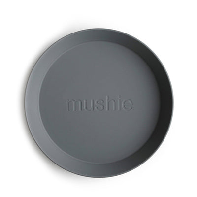 Mushie Round Dinnerware Plates, Set of 2 - Smoke