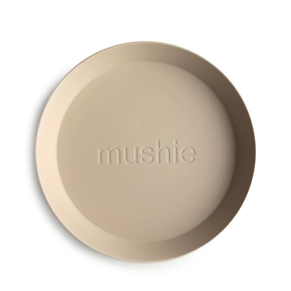 Mushie Round Dinnerware Plates, Set of 2 - Vanilla