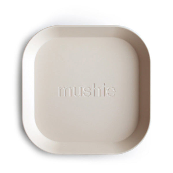 Mushie Square Dinnerware Plates, Set of 2 - Ivory