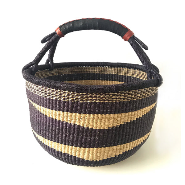 Ghanaian Bolga Basket with Leather Handles - #1