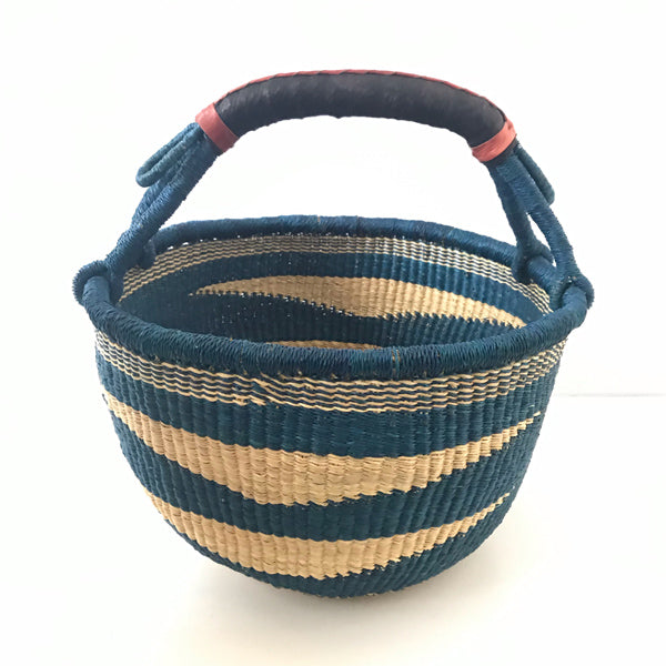Ghanaian Bolga Basket with Leather Handles - #2