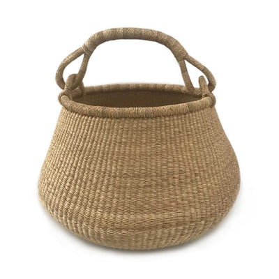 Natural Bolga Pot Basket with Handle