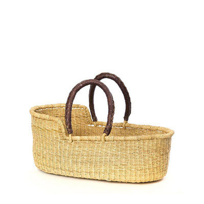 Mini Moses Doll's Basket – Natural with Brown Handles