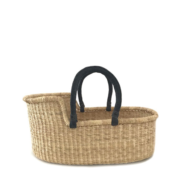 Mini Moses Doll's Basket - Natural with Black Handles