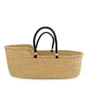 Natural Moses Basket – Black Handles with Cream Stitching