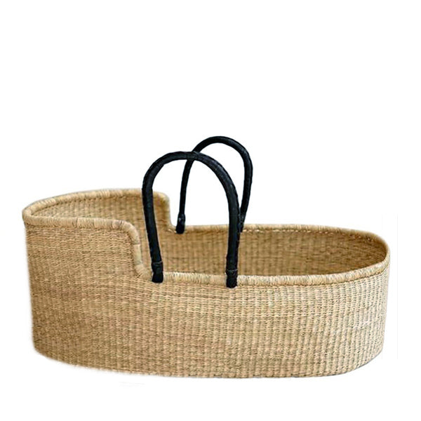 Natural Baby Moses Basket – Black Handles