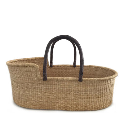 Natural Moses Basket – Brown Handles