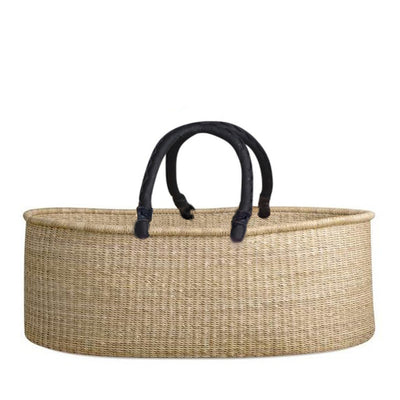 Natural Baby Moses Flat Basket – Black Handles