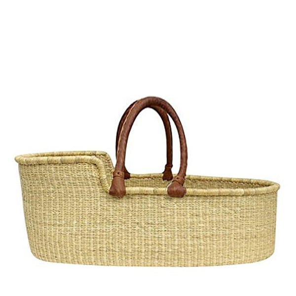 Natural Moses Basket - Tan Red Handles
