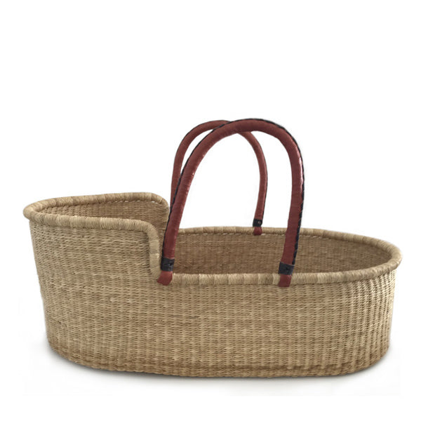 Natural Moses Basket – Tan Red Handles with Brown Stitching
