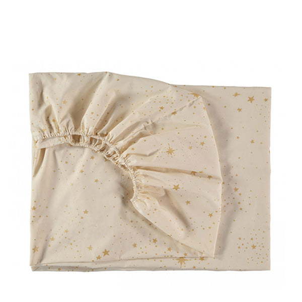Nobodinoz Tibet Fitted Sheet - Gold Stella / Natural