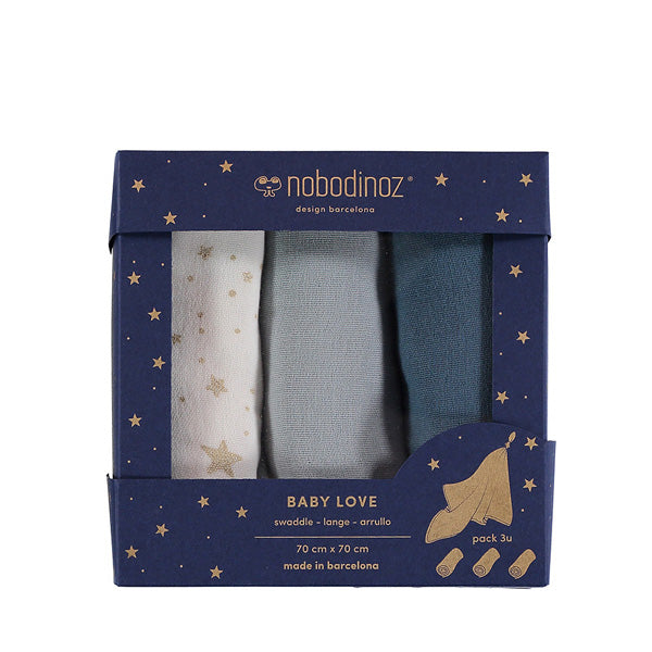 Nobodinoz Baby Love Swaddles 3pack – Night Blue