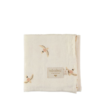 Nobodinoz Baby Love Swaddle Nude Haiku Birds - Natural