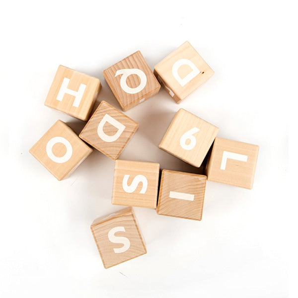 Ooh Noo Wooden Alphabet Blocks White