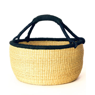 Oversize Natural Bolga Basket – Black Rim and Black Leather Handle