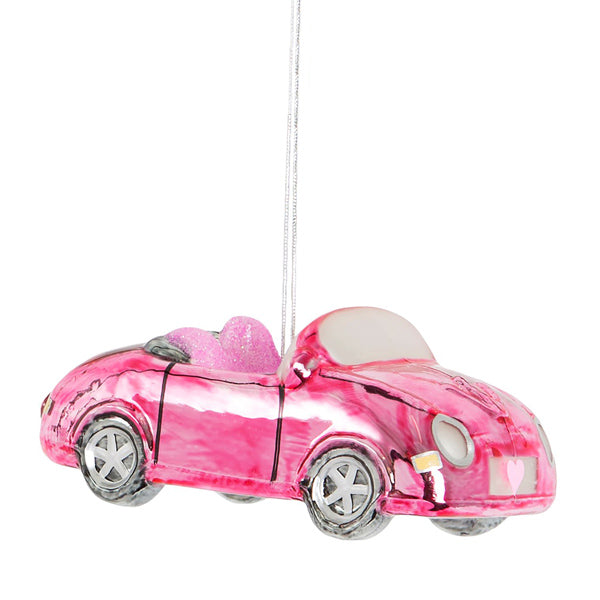 Glass Shaped Christmas Bauble - Pink Sports Car