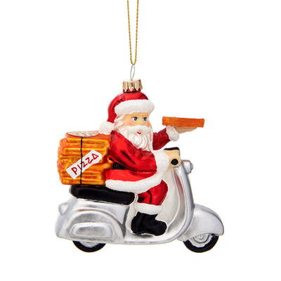 Glass Shaped Christmas Bauble - Pizza Delivery Santa