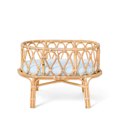 Poppie Rattan Doll's Crib - Baby Blue