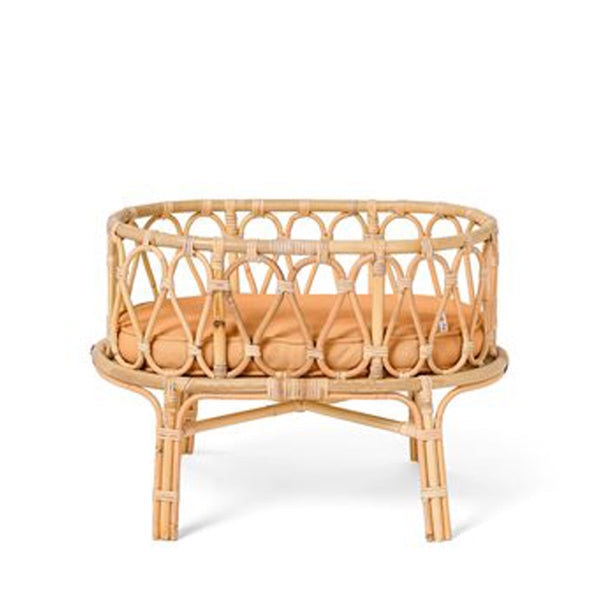 Poppie Rattan Doll's Crib - Brown