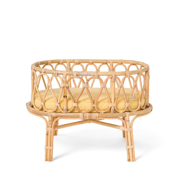 Poppie Rattan Doll's Crib - Yellow