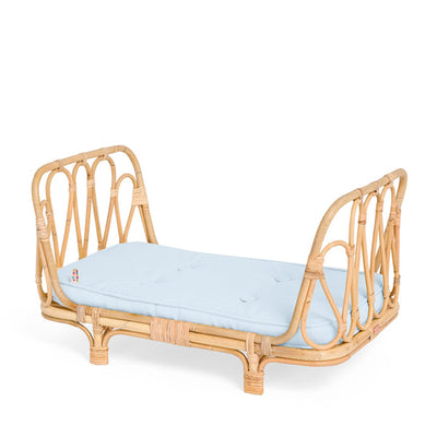 Poppie Rattan Doll's Day Bed - Baby Blue