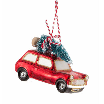 Glass Shaped Christmas Bauble - Red Driving Home for Christmas Car