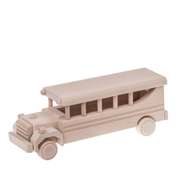 Retro Wooden School Bus - Natural
