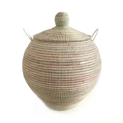 Hand Woven Lidded Round Basket – White